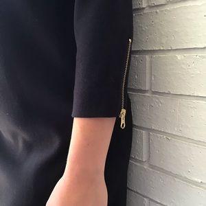 J. Crew Dresses - J. Crew | Black Gold Double Zip Shift Mini Dress